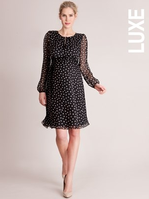 Serpahine Black and White Polka Dot Cocktail dress with long sleeves
