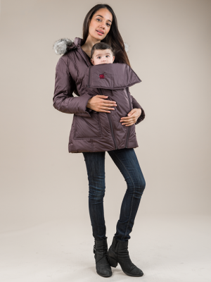 The M Coat in Mulberry Jam for Baby Carrying