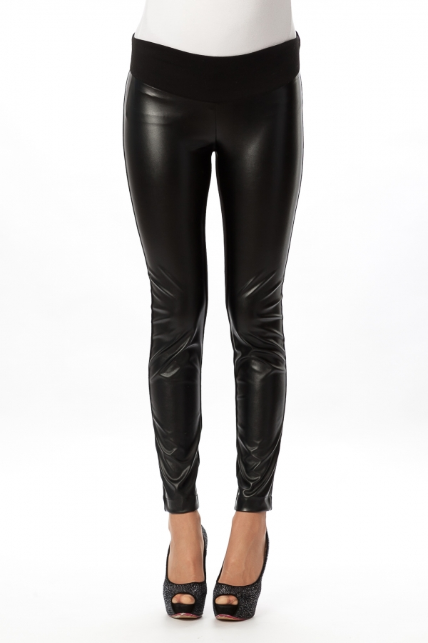 Pietro Brunelli Andrew Trousers in faux leather and stretchy jersey