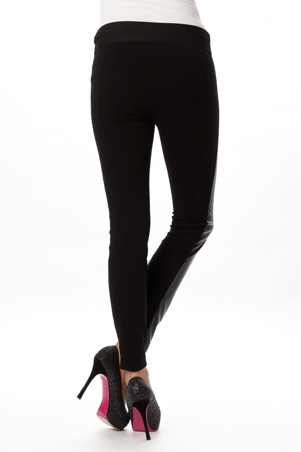 skinny trousers in faux leather and stretchy jersey