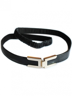 Seraphine Robyn Belt in black leather with gold clasp