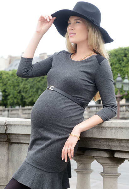 black leather maternity belt with elastic covered back and gold clasp