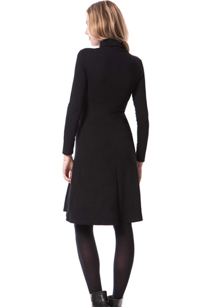 Seraphine Vanessa dress with rolled neckline and long sleeves with a-line skirt