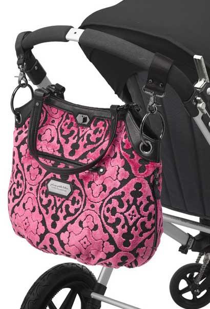 Petunia Pickle Bottom hooked on stroller