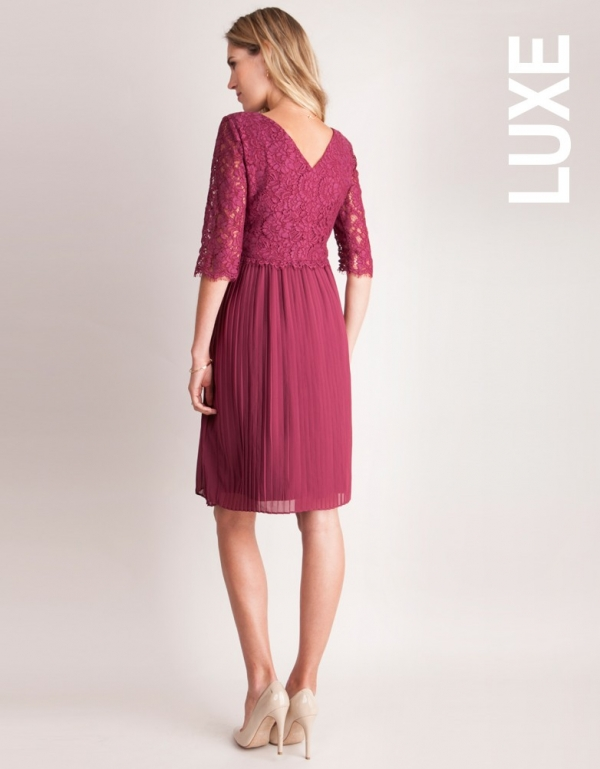 Seraphine Berry pleated maternity & Nursing Dress