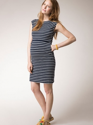 Simone summer dress with boat neck and drawstring in stripes