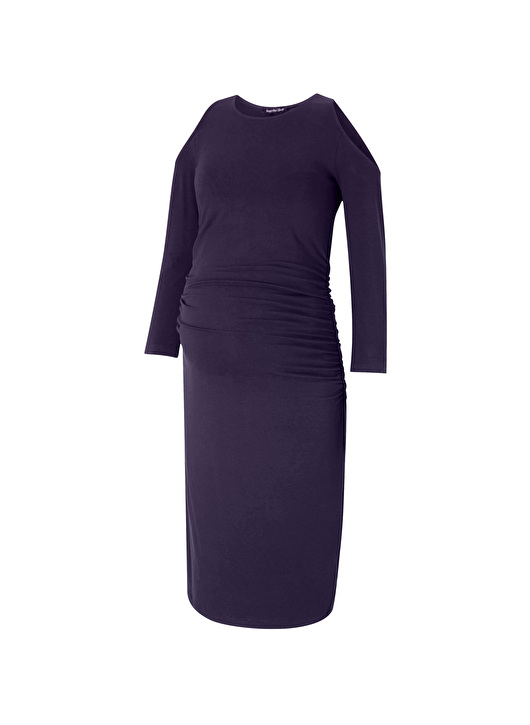 Isabella Oliver super classy Anneli dress with cut-out shoulders and long sleeves