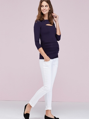 Isabella Oliver Dana maternity top with cut-out detail at neckline and 3/4 sleeves