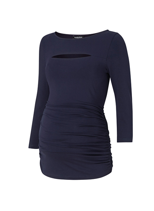 a feminine fitted and flattering maternity top with cut-out detail at neckline and 3/4 sleeves