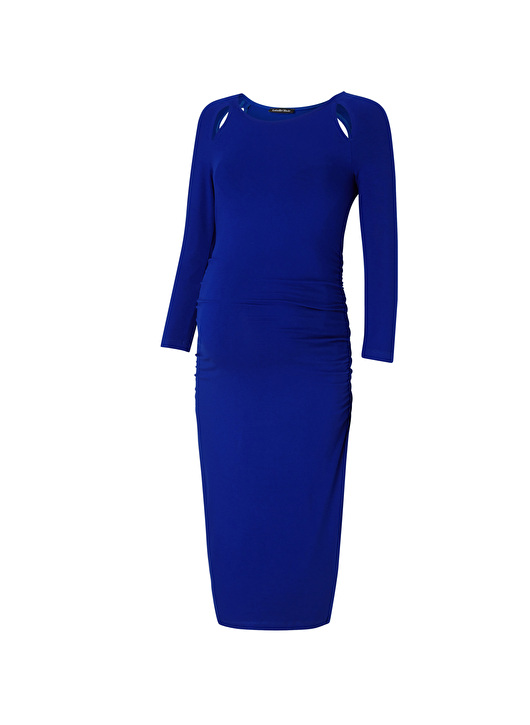 classic maternity dress with bracelet sleeves and cut-out detail
