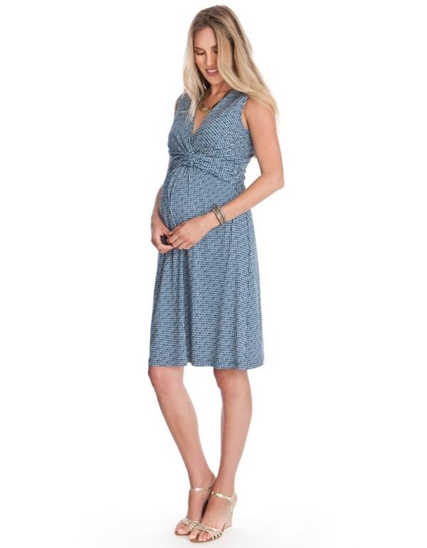 sleeveless maternity and nursing dress in blue print
