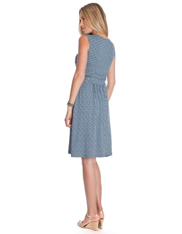 Seraphine Abagail Blue Printed Maternity & Nursing Dress-15347