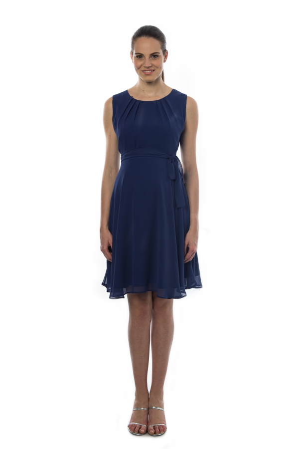 a pretty Georgette knee length dress with scoop neckline and sleeveless in twilight blue