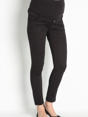 maternity trousers with belt loops and panel in black
