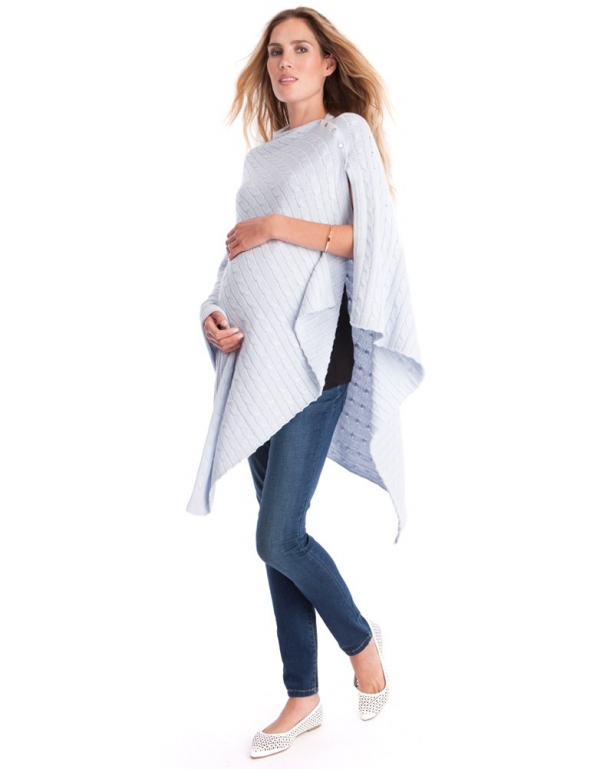 a lightweight nursing wrap in cable knit