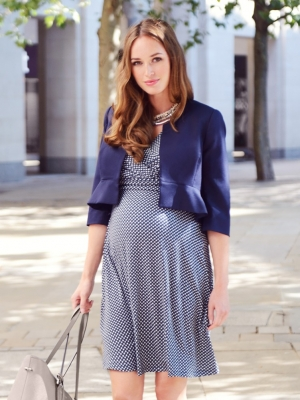 Katherina cropped maternity jacket in navy