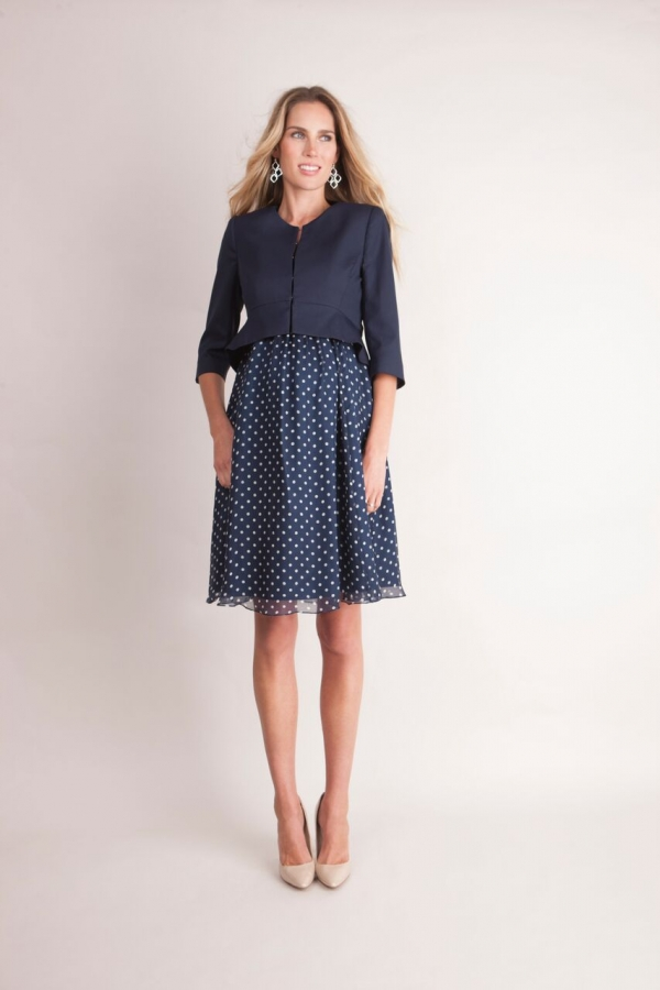 Seraphine cropped maternity jacket in navy