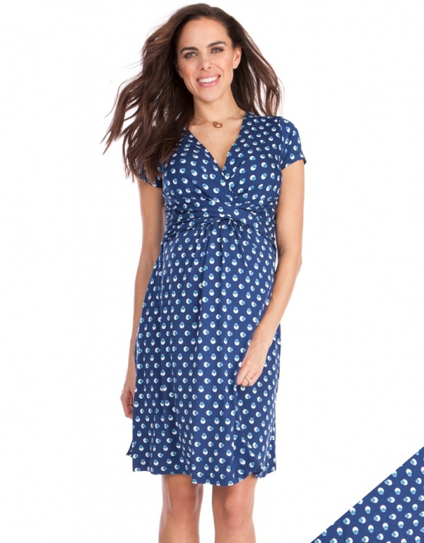 Seraphine Paula Bubble print maternity/nursing dress in short sleeves