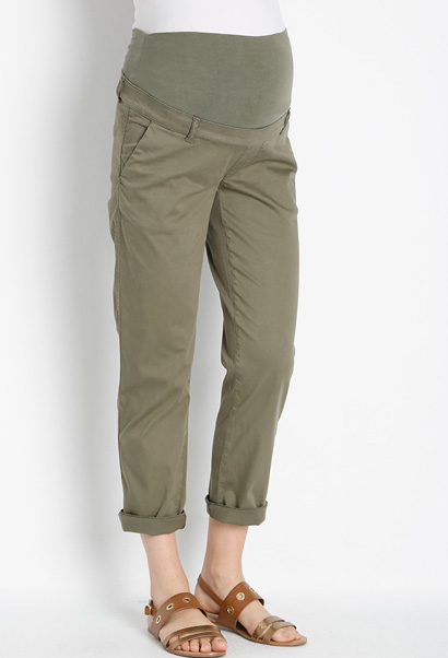 GeBe Kerry Maternity Trousers with panel in khaki