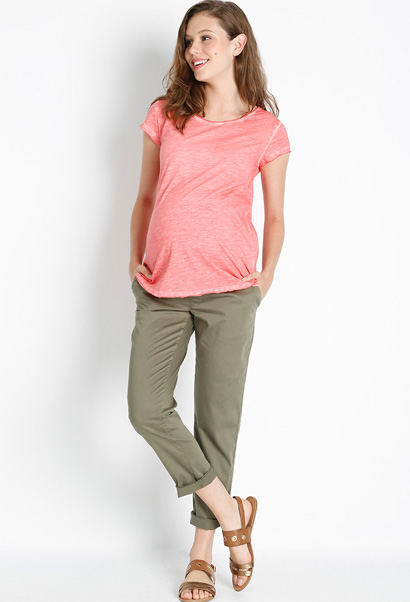 casual maternity trousers with panel