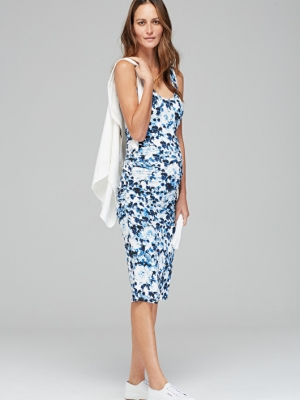 a flora; ruched tank maternity dress