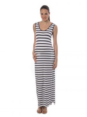 1894e03db0569 Pietro Brunelli summer maternity maxi dress in stripes with side slits