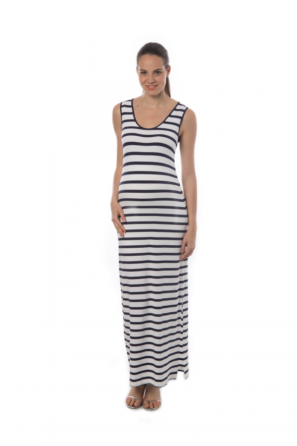 maternity tank dress in varying navy and white stripes