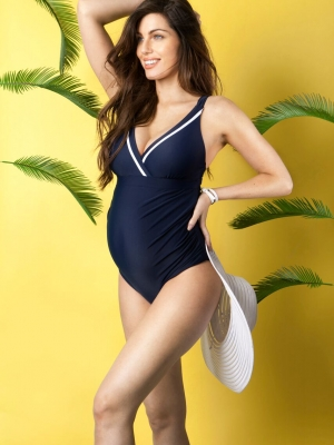 nautical maternity swimsuit by Seraphine