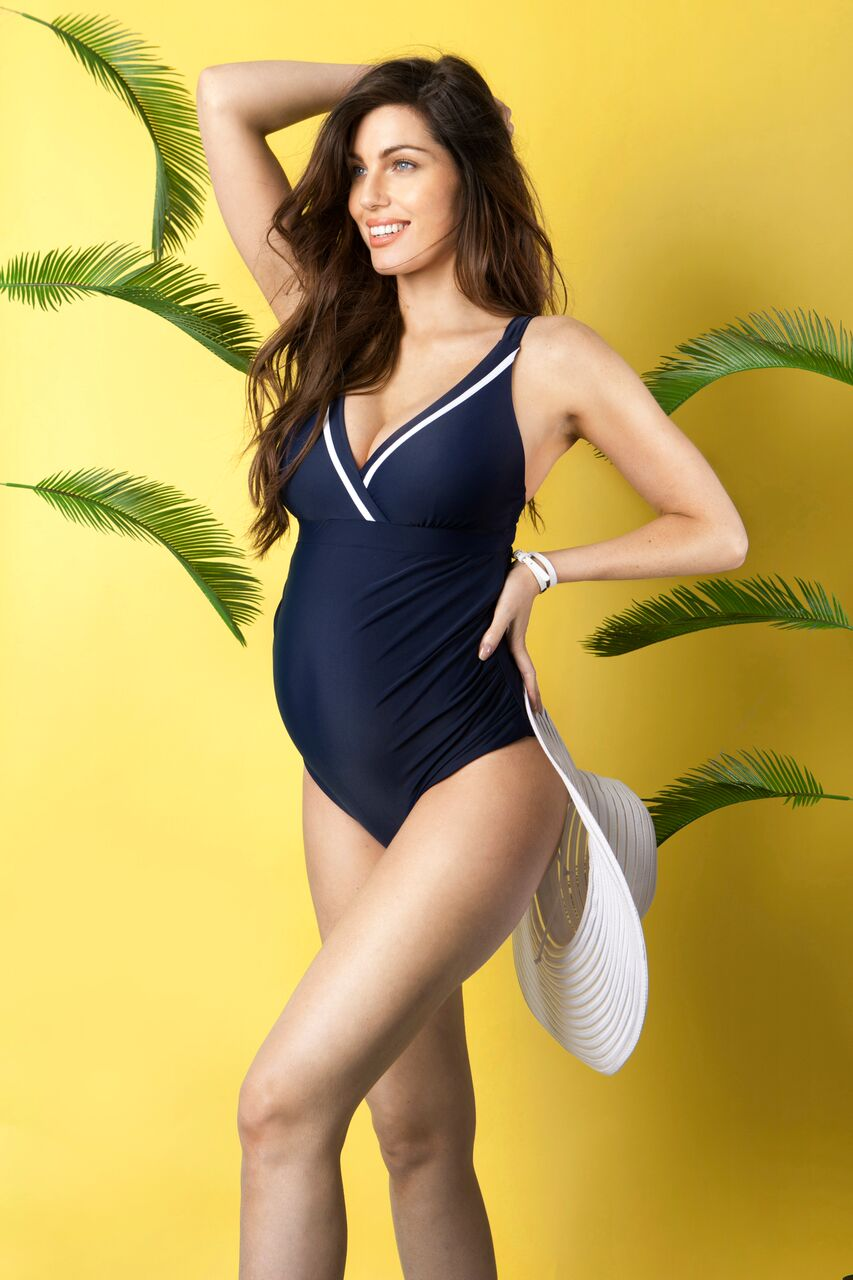 1edb9cb6a2ab2 Nautical Tie Back Maternity Swimsuit - hautemama