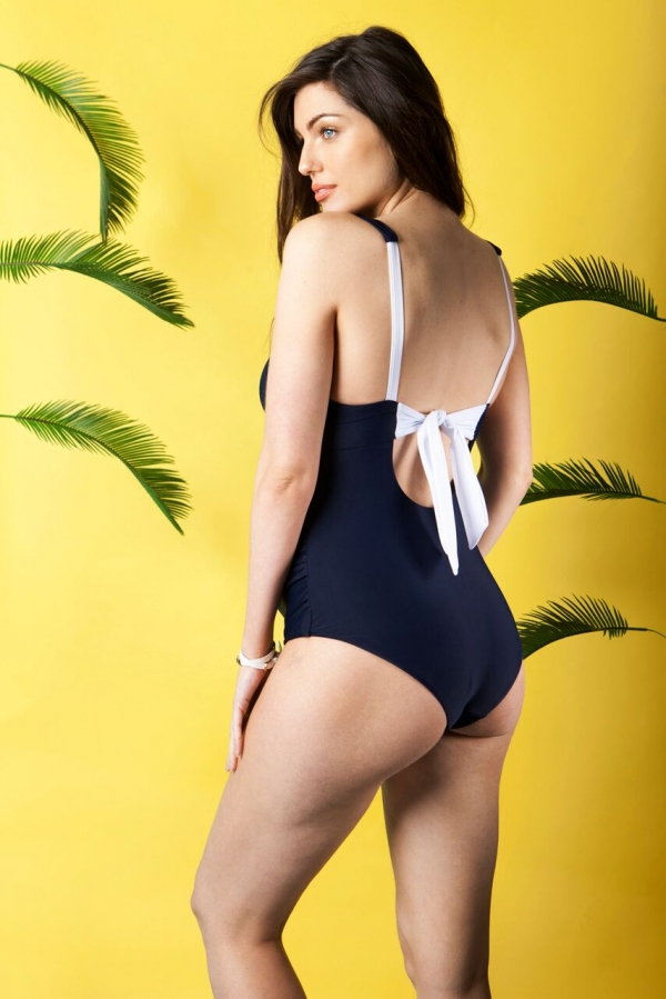 Maldives Maternity swimsuit in navy and white