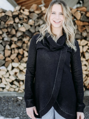 Blondie Apparel - Cross Front Sweater in Lightweight black great for maternity & nursing too