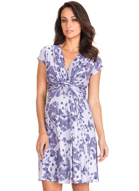 Seraphine Lavender Blossom Knot Front Maternity Dress-15836