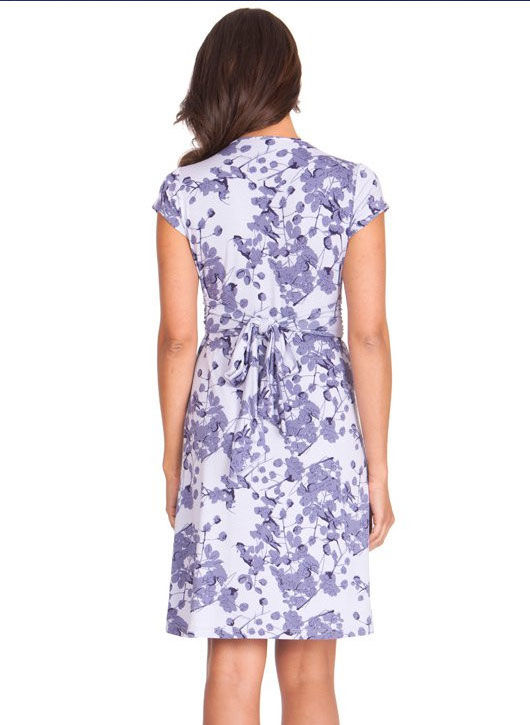 Seraphine Lavender Blossom Knot Front Maternity Dress-15837