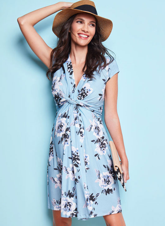 Seraphine Davina Blue Floral Knotted Maternity Dress-15838