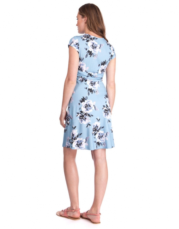 Seraphine Davina Blue Floral Knotted Maternity Dress-15798