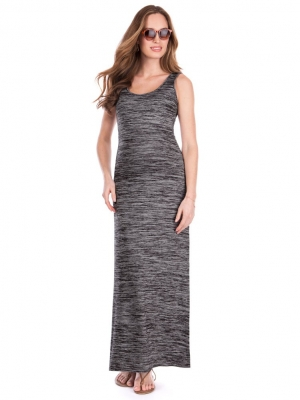 Seraphine Magdalena Charcoal Marl Maternity & Nursig Maxi Dress