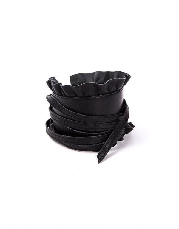 maternity leather frill wrap belt