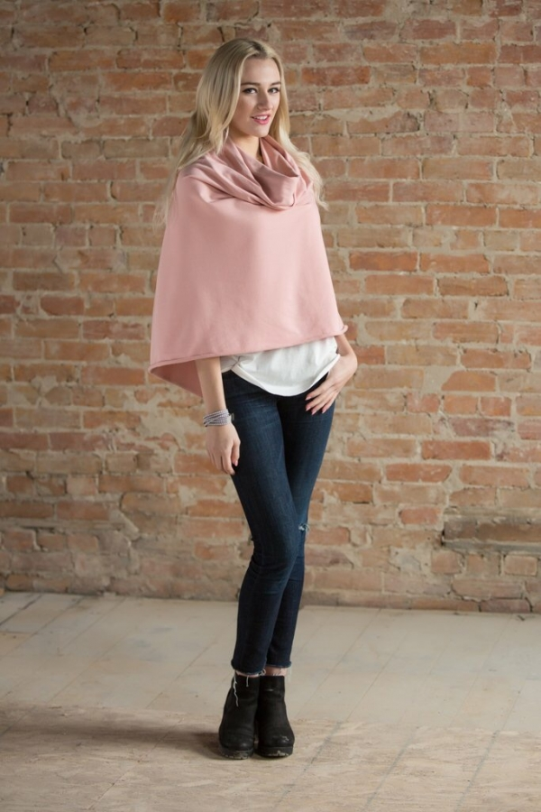 nursing cover/poncho in pink bamboo