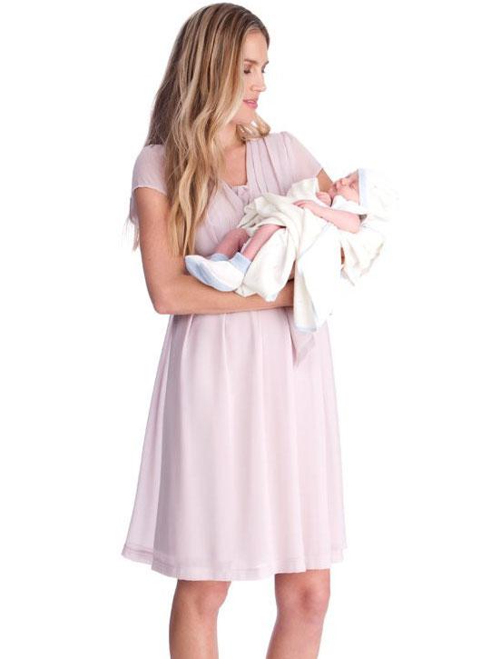 Seraphine Jodie Blush Pink Maternity & Nursing Dress-15848