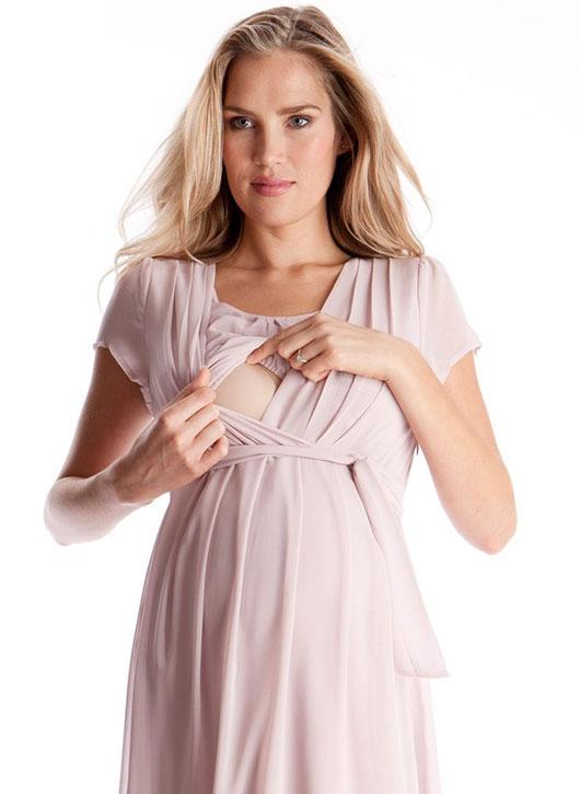 Seraphine Jodie Blush Pink Maternity & Nursing Dress-15850