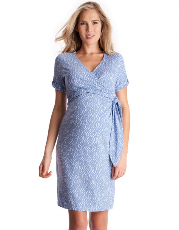 Seraphine Baby Blue Polka Dot Materniyy faux wrap dress