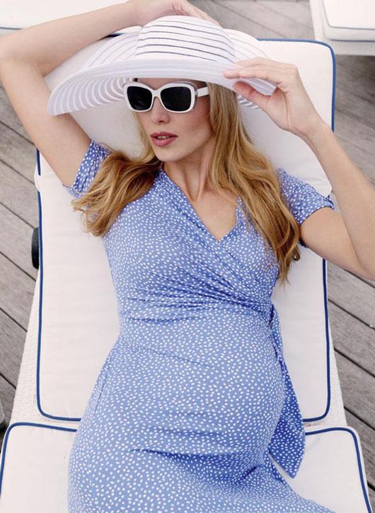 Renata baby blue polka dot faux wrap maternity dress