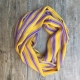 Yellow striped infinity scarf by Blondie Apparel
