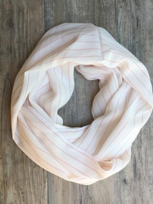Blondie Apparel - Summer Fling Scarf in White with Pink Stripes-0
