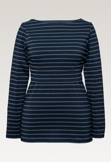 Boob Simone Lonf=g Sleeve Stripe Top in Midnight/Saragasso