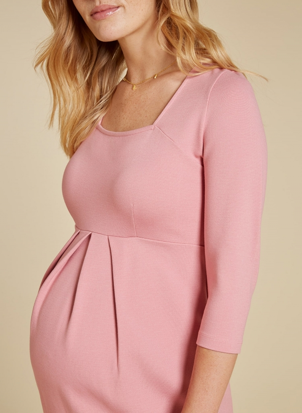 Isabella Oliver Paige Maternity Shift Dress in Winter Blush-15948