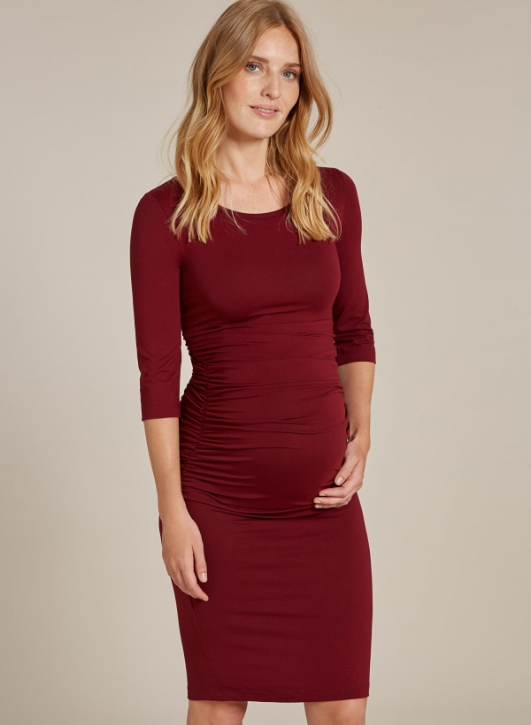 Cassie maternity dress in popular wine
