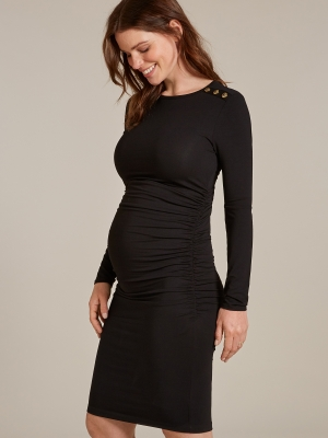 Simona the little black dress with gold buttons on left shoulder