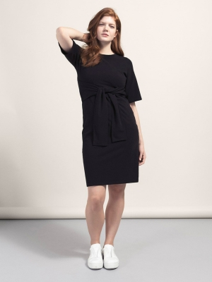 b717d7516f5a3 Haley Tie Belt Dress for Maternity & Nursing in Black
