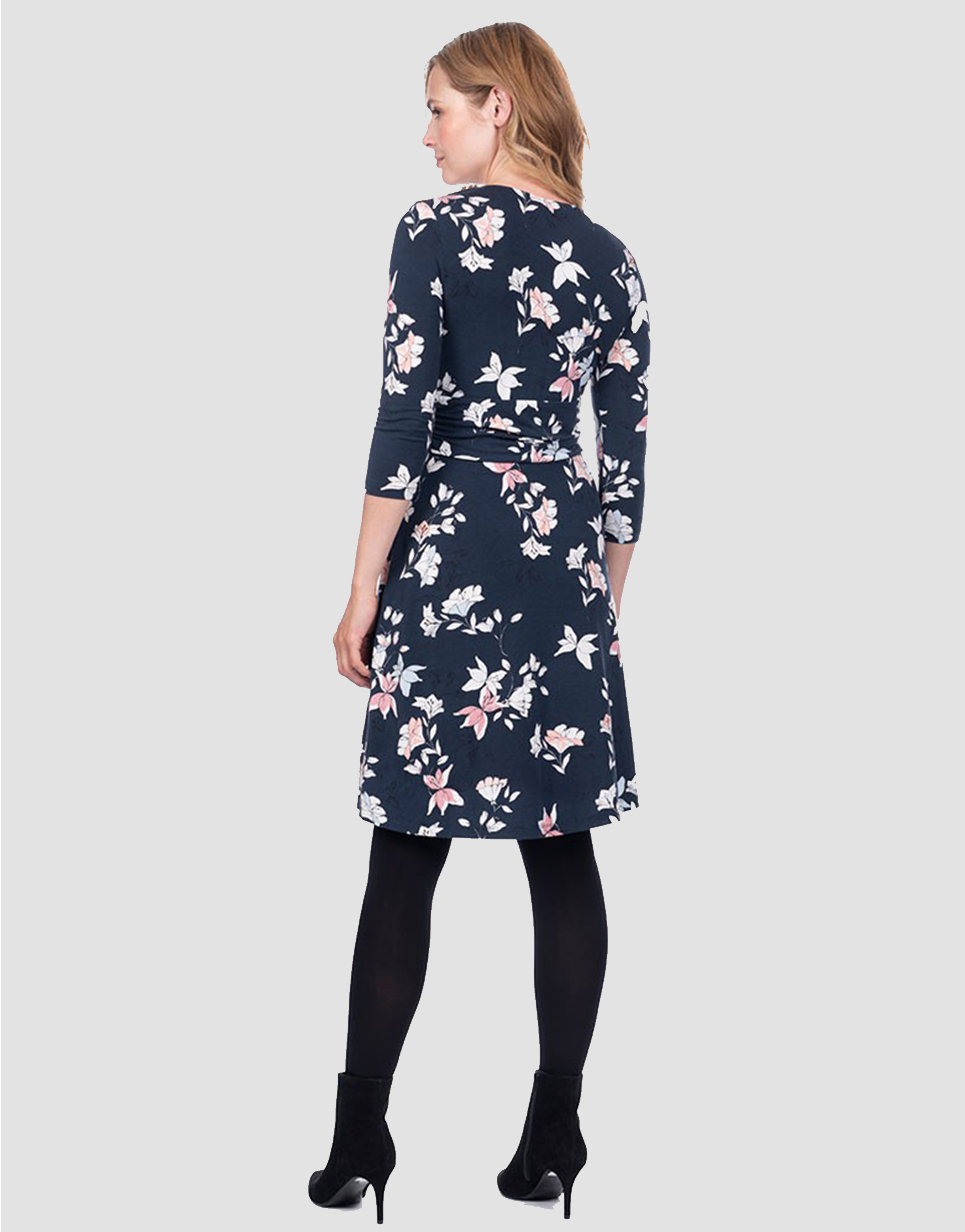 9971952686283 Carys Floral Knot Front Maternity Dress - hautemama